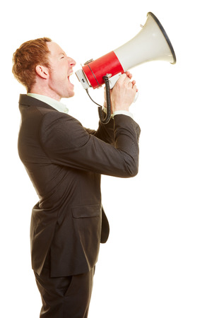 Manager communicating with a megaphone and motivating