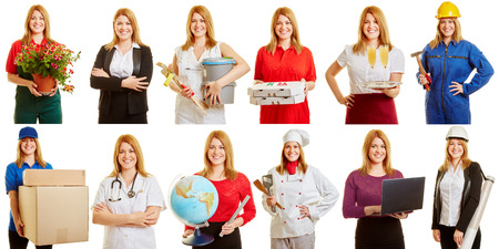 Blond woman in different positions and professions smiling Reklamní fotografie