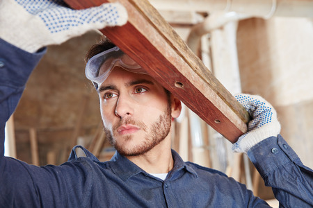 Apprentice of carpentry woodworking and learning
