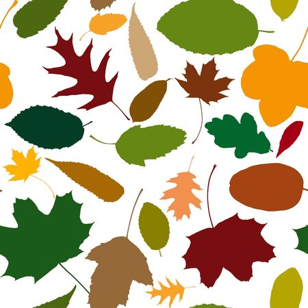 Seamless pattern of many autumn leaves for background