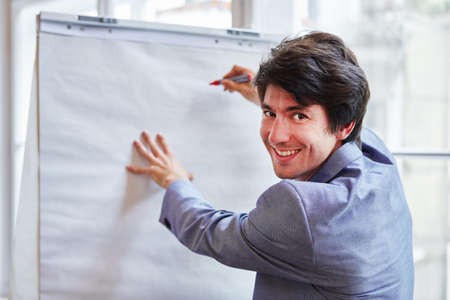 Student as businessman at presentation from ideas on whiteboard