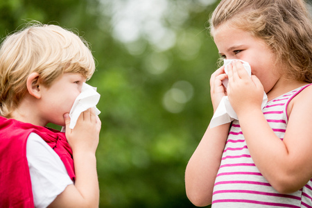 respiration: Kids with hay fever or the flue sneezing and cleaning nose with tissue