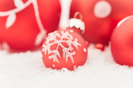 Red christmas balls for background decoration card