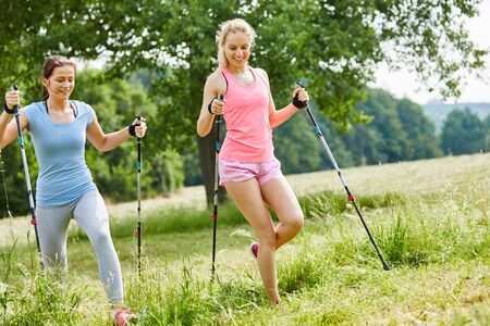 Two young friends nordic walking as fitness training
