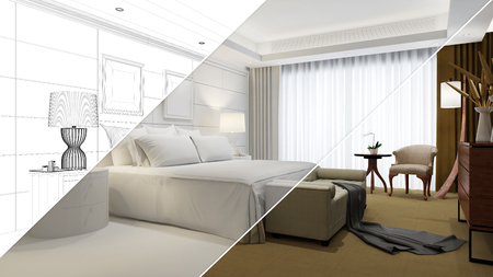Planning and development of hotel room from CAD blueprint to 3D Rendering 免版税图像 - 88304296