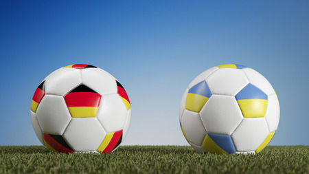 Germany vs. Ukraine in soccer match during european championships (3D Rendering) Stock Photo