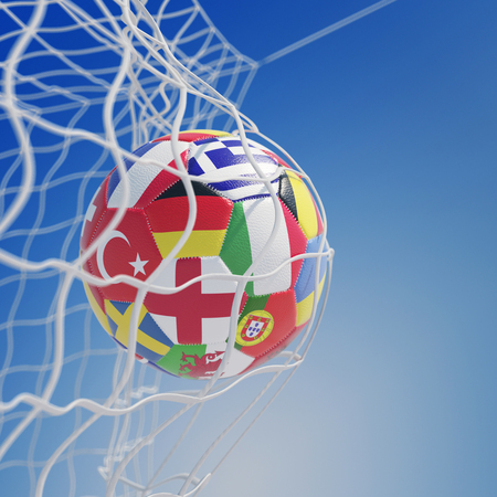 Soccer ball with many European country flags in goal net (3D Rendering) Stock Photo