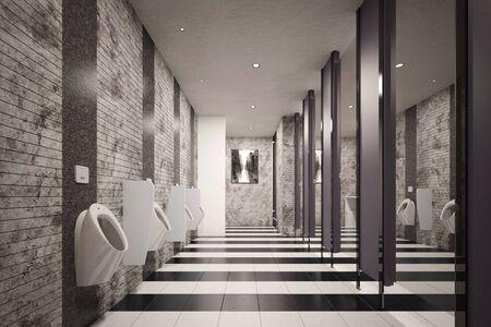 Public restroom for men with urinals (3D Rendering)