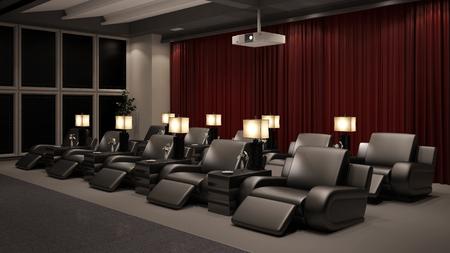 Privé-thuisbioscoop met veel stoelen en een beamer (3D-weergave)