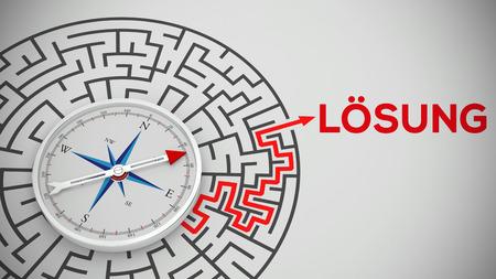 """나침반과 독일어 단어 """"Loesung""""(솔루션)이있는 미로 (3D 렌더링)"""