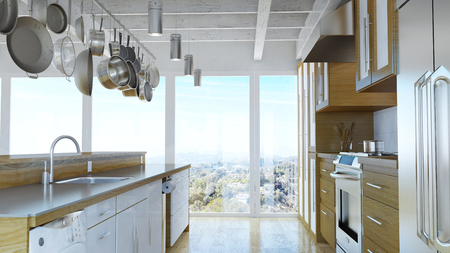 Modern kitchen with pots and pans hanging from the ceiling (3D Rendering)