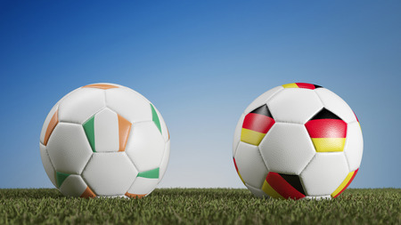 Ireland vs. Germany in soccer match during european championships (3D Rendering) Stock Photo