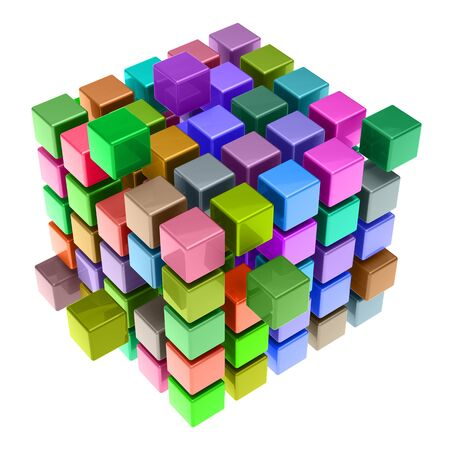 Many colorful 3D cubes as teamwork concept (3D Rendering) Stock Photo