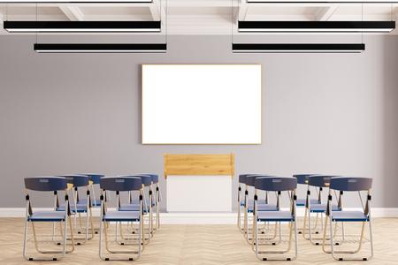 Presentatie in business seminarruimte met veel stoelen (3D rendering) Stockfoto
