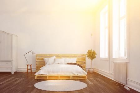 日当たりの良い寝室 (3 D レンダリング) のパレット ダブル ベッド