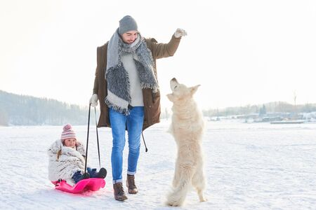 Father playing with dog and daughter while toboggan in winter Stock Photo