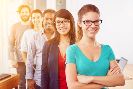 Startup business students as a group one after the other as team