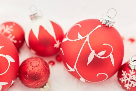 Christmas tree balls decoration as background