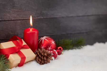 Christmas decoration with candle as background with decoration Banque d'images