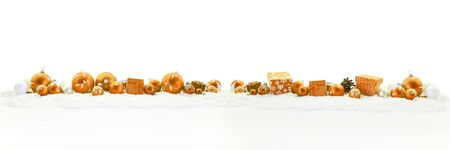 Orange christmas panorama as background with gifts and decoration
