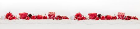Background for christmas banner with many presents and baubles Archivio Fotografico
