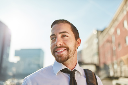 Young man as successful happy business man or entrepreneur Banque d'images