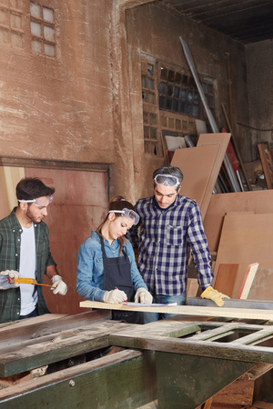 Craftsmen and woman as apprentice cooperating and working