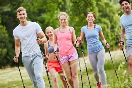 Friends nordic walking as healthy sport