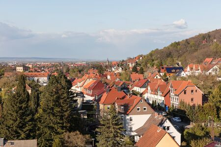 Cityscape with houses in Wernigerode in the Harz in Saxony-Anhalt, Germany Stock Photo