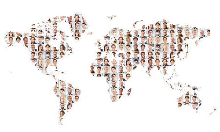 Many business people on world map plotted as a concept for international cooperation