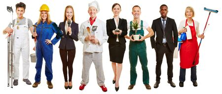 Panorama with group of different occupations as Jobcenter advertising Stock Photo