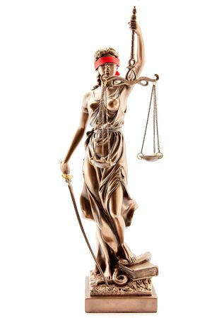 Blind Justitia with blindfold as law and justice concept