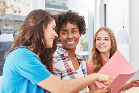 Young female students are learning together in a working group at the university