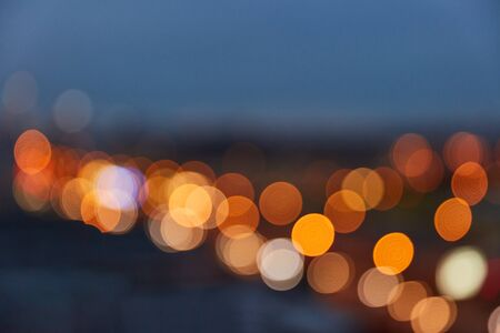 Abstract background with defocused lights in the evening in the city Stock Photo