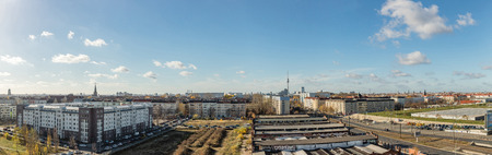 Berlin City Panorama with a blue sky and the TV tower
