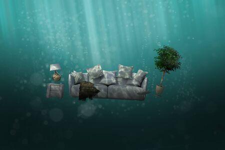 Disposal of old sofa underwater in an ocean (3D Rendering)