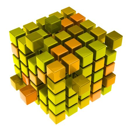Many hovering 3D cubes made of metal or gold (3D Rendering)