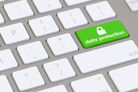 Data protection concept on a computer keyboard key (3D Rendering)