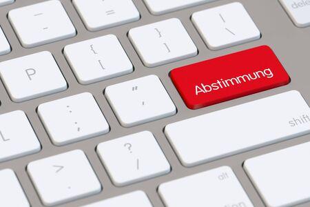 "Duits woord ""Abstimmung"" (stemming) op een computertoetsenbord (3D-weergave)"