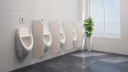 Clean urinals in a row in public white WC (3D Rendering) Stock Photo