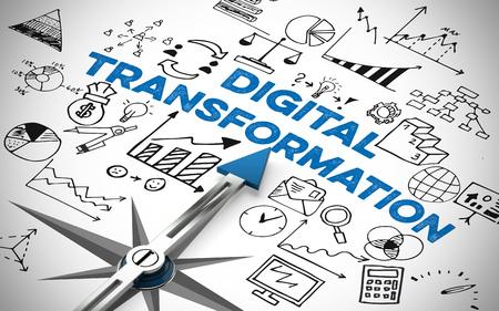 Digital Business Transformation Konzept mit Pfeil des Kompasses (3D Rendering)