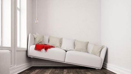 Kleines schmales Wohnzimmer mit Platzproblemen und einem Sofa zwischen den Wänden (3D-Rendering) Standard-Bild