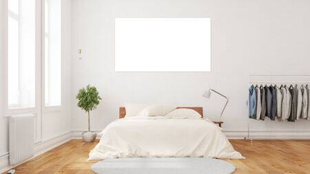 White and empty picture hanging over a bed in a bedroom (3D Rendering)