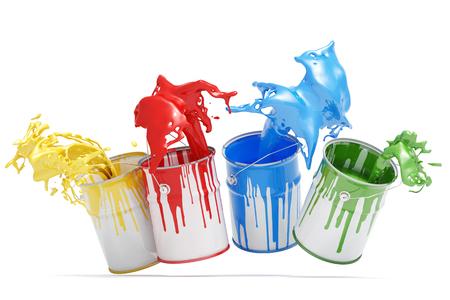 Quatre seaux aux éclaboussures de couleurs isolés sur fond blanc (rendu 3D)