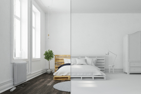 Bedroom with palette bed in white and color side to side (3D Rendering) 스톡 콘텐츠