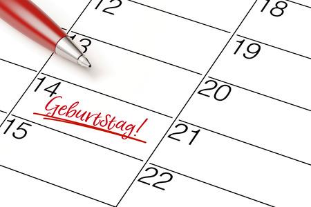 pen marking date in German saying Geburtstag! (birthday) in a calendar (3D Rendering) Stock Photo