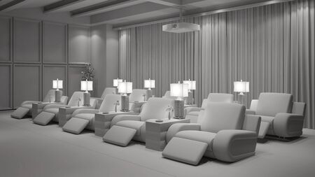 Elegant white home cinema with beamer and many chairs (3D Rendering)