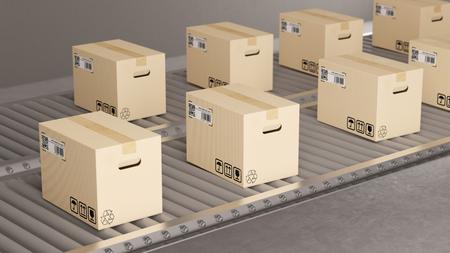 Many parcel packages on conveyor belt in fabric (3D Rendering) Foto de archivo