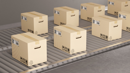 Many parcel packages on conveyor belt in fabric (3D Rendering) Stockfoto