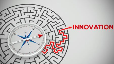 Compass pointing to innovation as goal of maze (3D Rendering)